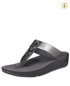 Graue FitFlop Damen Sandale Roxy mit Mikrokristallen, grau.