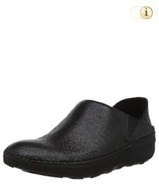 Schwarze FitFlop Damen Slipper aus Glattleder, schwarz.