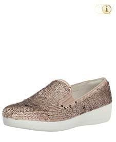 Rosa FitFlop Slipper Schuhe für Damen, Superskate Loafer Schlupfhalbschuh mit Pailletten, rosa.