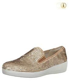 Crèmefarbene FitFlop Slipper Schuhe für Damen, Superskate Loafer Schlupfhalbschuh mit Pailletten, crème.