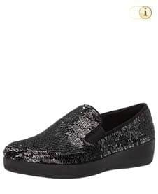 Schwarze FitFlop Slipper Schuhe für Damen, Superskate Loafer Schlupfhalbschuh mit Pailletten, schwarz.