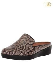 Braune FitFlop Slipper Schuhe für Damen, Loafer Schlupfhalbschuh mit Python-Print und niedriger Hinterkappe, braun.