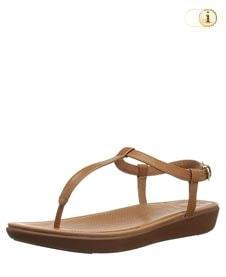 Braune FitFlop Damen Sandale Tia aus Leder mit superfeinem T-Steg, braun.