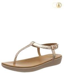 FitFlop Damen Sandale Tia aus Leder mit superfeinem T-Steg, gold.