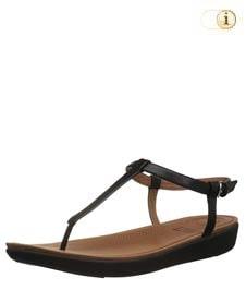 Schwarze FitFlop Damen Sandale Tia aus Leder mit superfeinem T-Steg, schwarz.