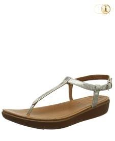 Silberne FitFlop Damen Sandale Tia aus Leder mit superfeinem T-Steg, silber.