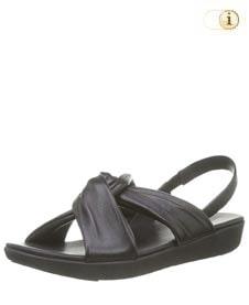 Schwarze FitFlop Damen Sandale Twine mit verflochtenen Riemen über dem Fußspann, schwarz.