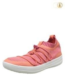 Orange Fitlop Damen Ghillie Sneakers mit gekreuzten Schnürsenkeln, apricot.