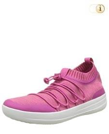 Pinke Fitlop Damen Ghillie Sneakers mit gekreuzten Schnürsenkeln, pink.