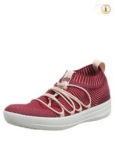 Rote Fitlop Damen Ghillie Sneakers mit gekreuzten Schnürsenkeln, rot.