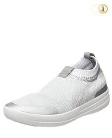 Weiße FitFlop Damen Schuhe, Uberknit Ballerinas, weiß.