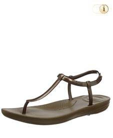 Fitflop iQushion Metallic Splash Sandale mit schmalem Fersenriemen, braun.