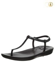 Fitflop iQushion Splash Sandale mit schmalem Fersenriemen, schwarz.